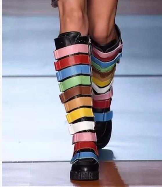 10 Colors Mujeres MultiColor de la rodilla rodilla rodilla alta botas zapatos pasarelas pisos Punk Roma Talla W532  El ultimo 2018