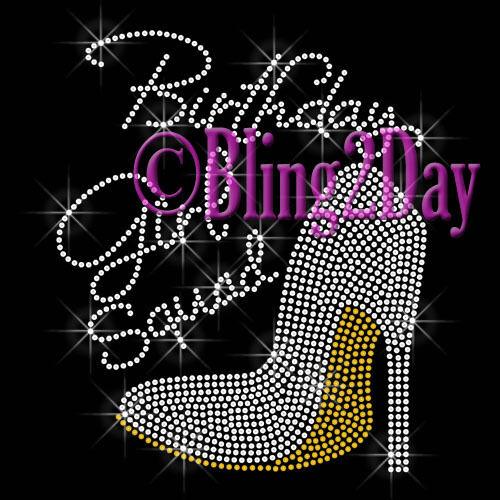 Rhinestone Iron on Transfer Hot Fix Bling High Heel DIY Birthday Girl Squad