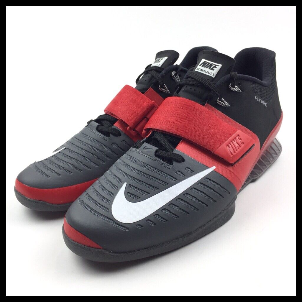 Nike Romaleos 3 Mens Weightlifting Crossfit Trainers Size 13 Grey Red 852933-600