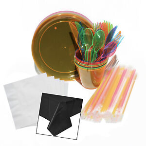 Glow-Party-Pack-for-8-Guests-Tableware-tablecloth-amp-50-glow-bracelets