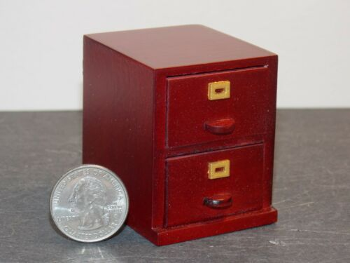 Dollhouse Miniature 2 Drawer File Cabinet Mahogany 1:12 scale P40 Dollys Gallery