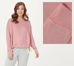 Peace-Love-World-Crew-Neck-Comfy-Knit-Top-with-Drawstring-Top-Pink-M-A376629