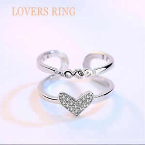 UK-925-Sterling-Silver-Rings-Sparkly-Love-Heart-Crystal-Ring-Adjustable-Thumb
