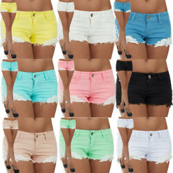 Malucas Damen Jeans Kurze Hose Hotpants Short Hüfthose Hüftjeans Capri Stretch