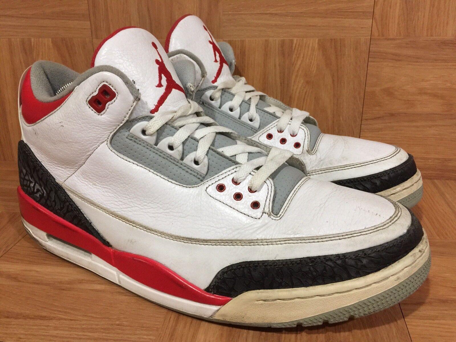 RARE  Nike Air Jordan 3 III White Fire Red Silver Black Sz 14 136064-120 Cement