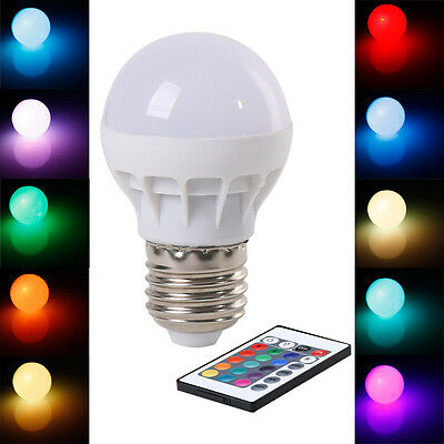 3W LED spotlight lamp RGB E27 color changing with IR remote control led lights