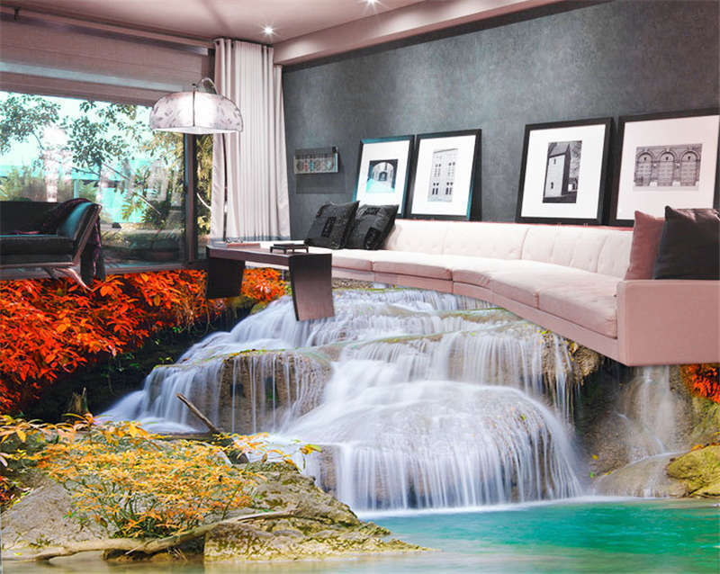 ROT Forest Waterfall Turquois 3D Floor Mural Photo Flooring Wallpaper Wall Decal