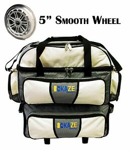 db13cb39ff KAZE SPORTS 4 Ball Double Decker Bowling Bag Roller Tote with Smooth ...