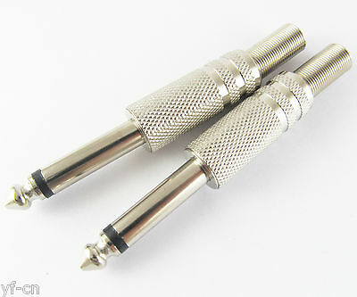 """50pcs Gold 1//4/"""" 6.35mm TS Mono Metal Male Plug Audio Cable Connector w//Spring"""