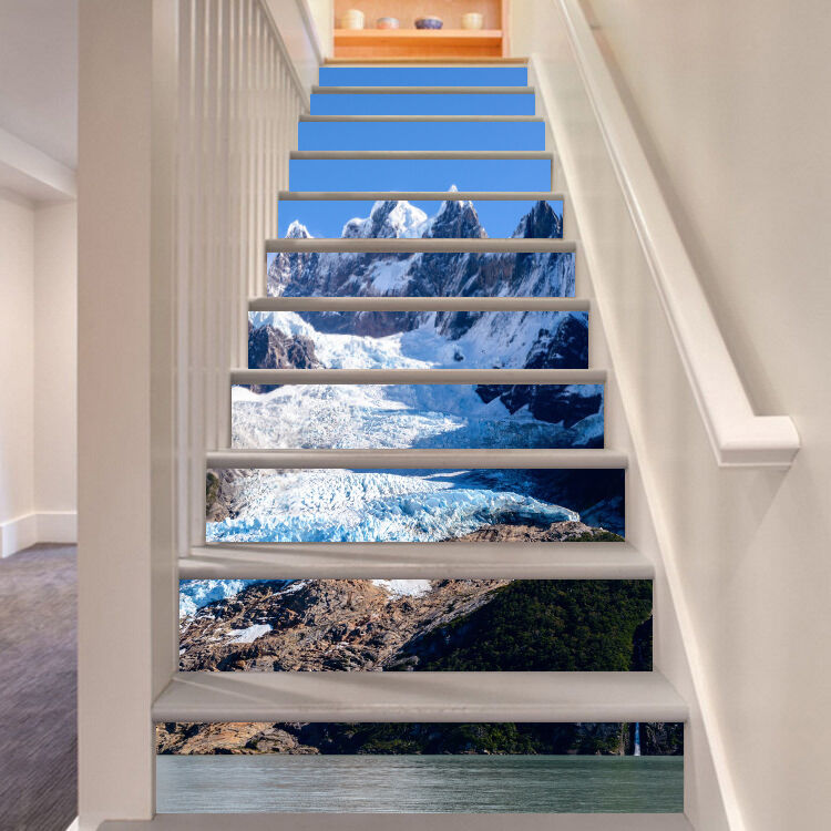 3D Snow Hills Stair Risers Decoration Photo Mural Vinyl Decal Wallpaper CA