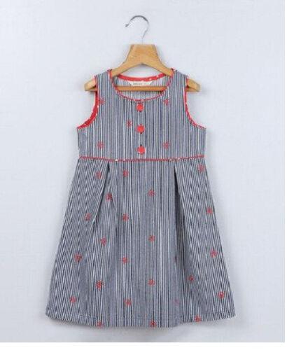 DESIGNER GIRLS NAVY WHITE SAILOR STRIPE STRIPED DENIM PINAFORE DRESS 5-9 YRS BN