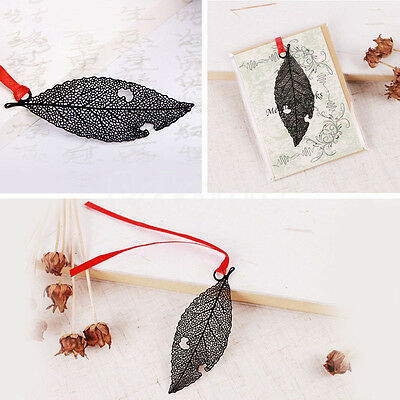 Black Leaf Retro Metal Bookmark Book Marks Gift Stationery School Office Reading