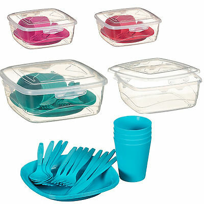 21 Piece Plastic Picnic Set- Dishwasher Safe with 4 plates Red Pink Green Turq