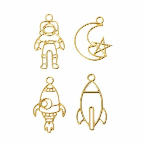4Pcs Rocket Moon Astronaut Blank Pendants Bezel Setting Resin UV Frame Jewelry