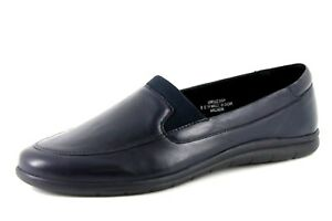 Extra Rex scuro On Womens blu Eee 9 Slip pelle in Shoes Wide Uk Evans Fit Loafer Xfxqdf