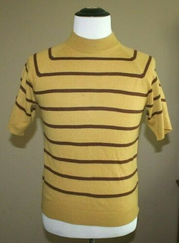 Vintage Mens 60s 70s Sweater Medium Mustard Yellow