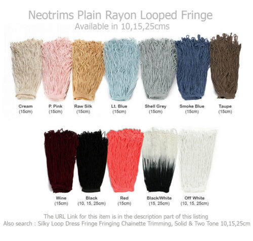 Knotted Fringe Fringing Silky Tassel Criss Cross Dress,Costume Trim,17cm,Neotrim