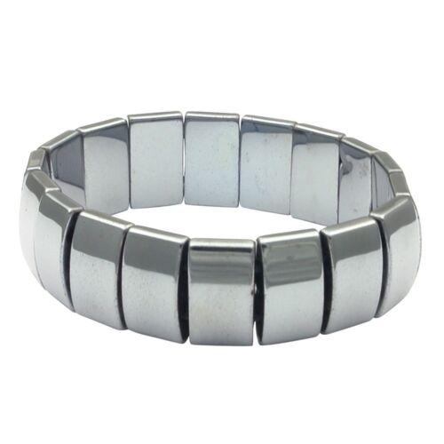 Armband Armschmuck aus Hämatit dunkel-grau dehnbar endlos flach glänzend Unisex