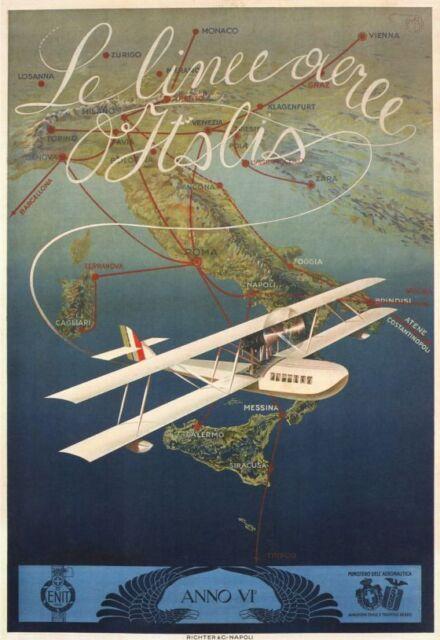 Vintage Poster Aeroplane Flying Over The Sea VPP061 Art Print A4 A3 A2 A1