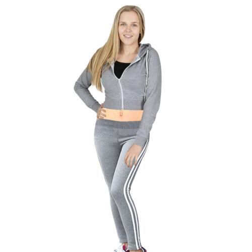 UK Womens Plain Active Sport Lounge Wear Cropped 2 PCS Tracksuits Set Size 8-14