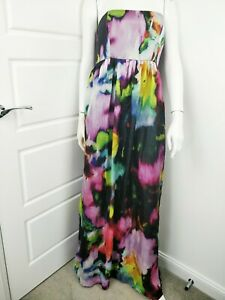 Kleider Gastfreundlich Isabella Oliver Silk Abstract Long Maxi Strapless Maternity Belted Dress Size D