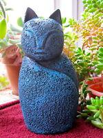 Cat Statue, Contemporary, Blue Cat, Free Shipping, Concrete Garden Decor