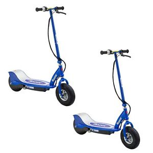 Razor-E300-Electric-24-Volt-Motorized-Ride-On-Kids-Scooter-Blue-2-Pack