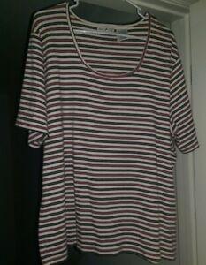 White-Stag-Womens-Red-Black-Tan-Striped-Shirt-Top-Blouse-Size-22W-24W