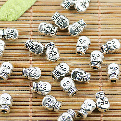 26pcs tibetan silver color 2sided skull head spacer bead EF2440