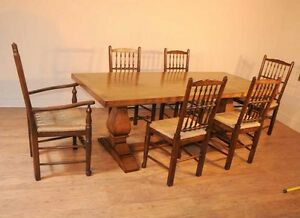 Oak-Kitchen-Diner-Chair-Set-Refectory-Table-and-Spindleback-Chairs