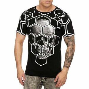 T-Shirt-Nero-Teschio-Teschio-Gotico-Teschio-Strass-Pietre-Slim-Fit-John-Kayna