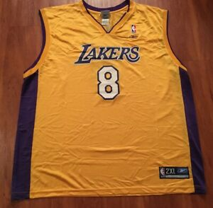 Kobe Bryant #8 Los Angeles Lakers Gold Jersey NBA Reebok Mens ...