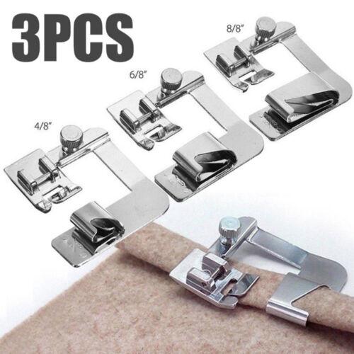 3Pcs//Set domestic sewing machine foot presser rolled hem feet for brother sin ZR
