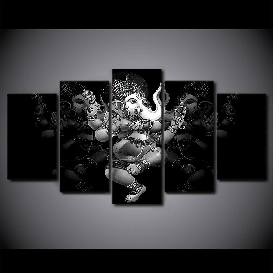 Hindou Ganesha Dieu Monochrome 5 pièces toile mur Home Decor Poster Artwork