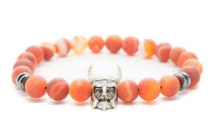 Agate-w-Viking-Natural-Beaded-Bracelet-Chakra-Healing-Men-Women-DT400