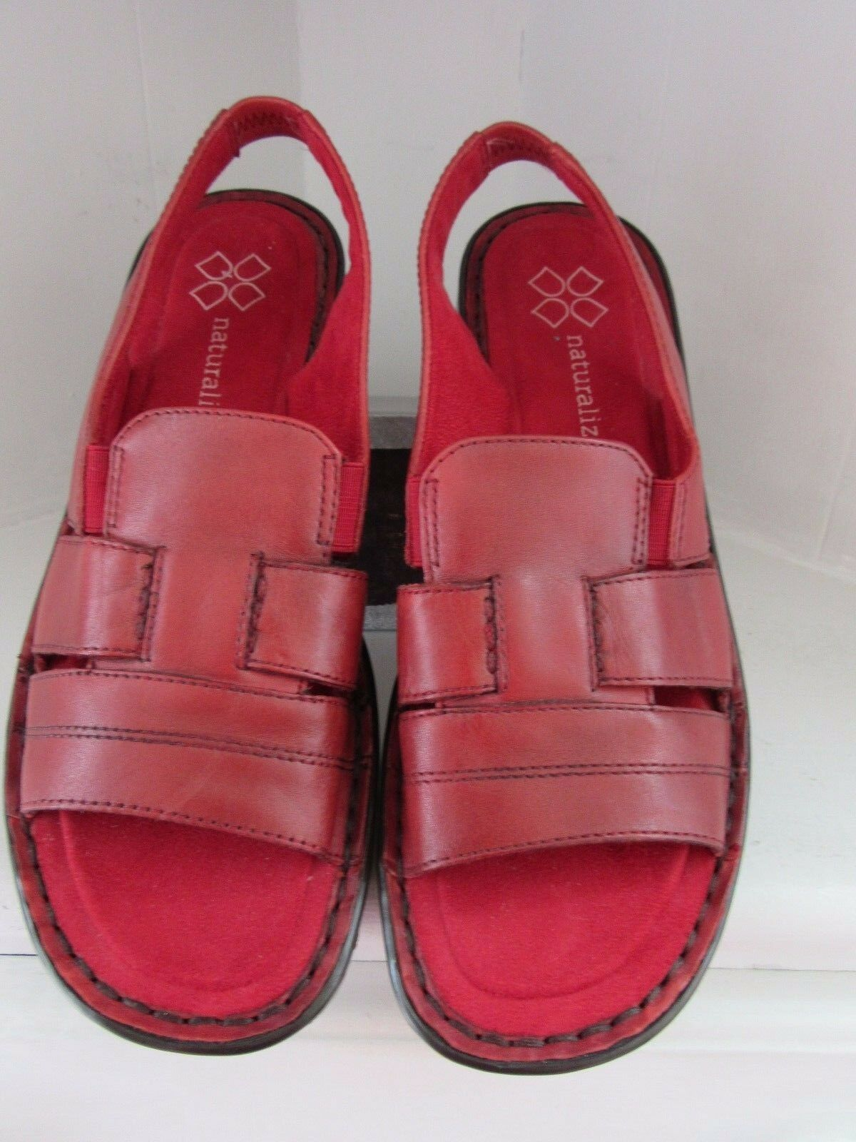 Naturalizer Leather Sandals Walking Womens Size 7.5 M Red Slingback Walking Sandals Shoes Casa cd976a