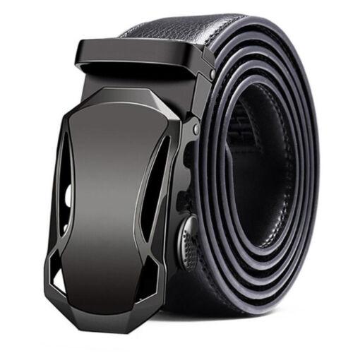 Luxury Mens Automatic Buckle Genuine Leather Ratchet Belt Waistband Strap Waist