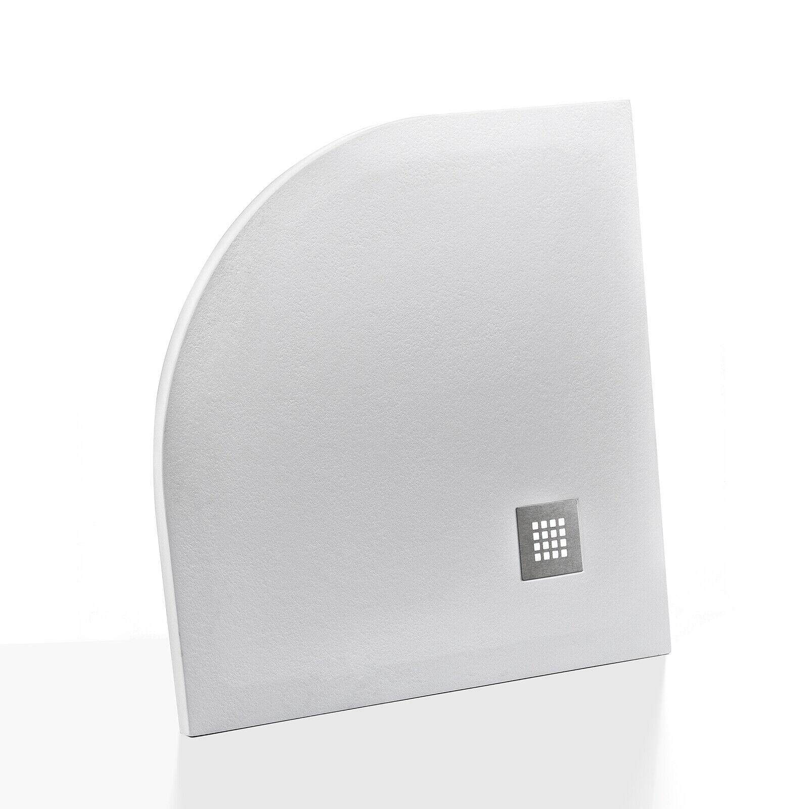 Piatto doccia riducibile 80x80 cm semicircolare in resina effetto pietra bianco