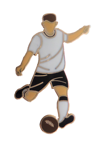 White & Black Football Player Gold Plated Pin Badge