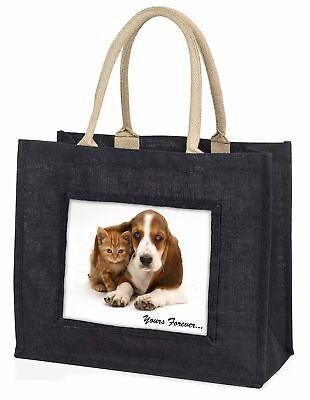 Dachshund und Katze  dir für immer  große schwarze Einkaufstasche Weihnachten,