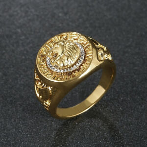Gold Plated Lion Head Signet Ring Ring Various Sizes Ebay
