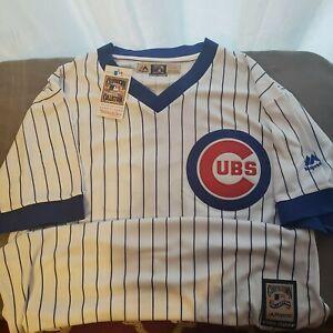 Majestic-Chicago-Cubs-RYNE-SANDBERG-Baseball-Jersey-White-Stripe-Mens-XL