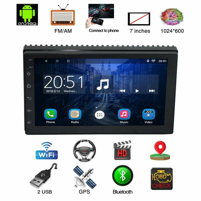 """Bluetooth Car Stereo Radio Android 7.1 2 DIN 7/"""" MP5 Player GPS Wifi Rear Camera"""