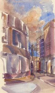 Clifford-H-Thompson-1926-2017-20th-Century-Watercolour-City-Street