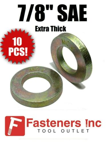"""7//8/"""" Extra Thick Flat Washers SAE Grade 8 Hardened Washers MCX Mil-Carb Qty 10"""