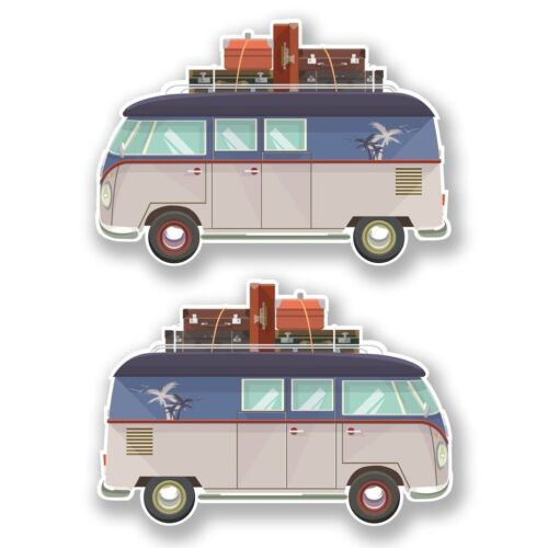 2 x Camper Van Vinyl Sticker Laptop Travel Luggage Car #6652