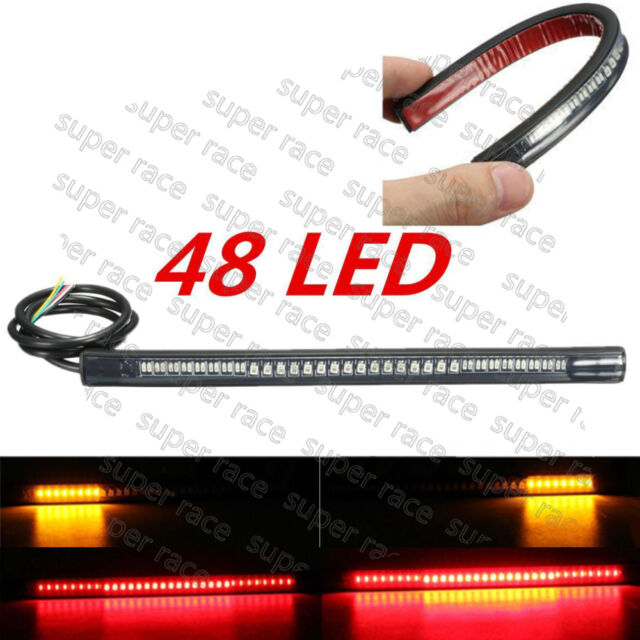 Universal Motorcycle Rear Tail Brake Stop Turn Signal 48 LED SMD Light Strip Bar
