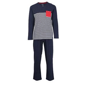 TOM-TAILOR-Schlafanzug-Gr-L-52-Jersey-Pyjama-blau-gestreift-V-Ausschnitt