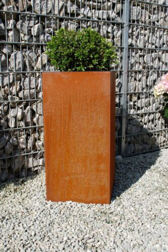 "PORTAVASO porta vaso in metallo cortenstahl /""Block/"" 80 cm Marrone Ruggine"