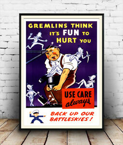 Reproduction safety information advertising Wall art. poster Gremlins